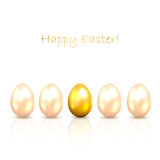 Golden Easter eggs. Set of shiny Easter eggs with reflection  on white background, illustration Royalty Free Stock Image