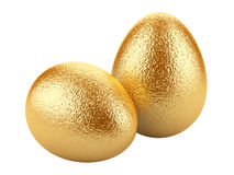 Golden easter eggs on white background. Royalty Free Stock Images