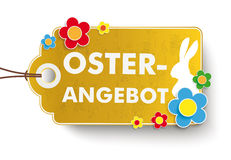 Golden Easter Offer Price Sticker. Infographic with price sticker the whitebackground. German text Oster-Angebot, translate Easter Offer Royalty Free Stock Photo