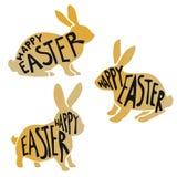 Golden easter rabbits Stock Image
