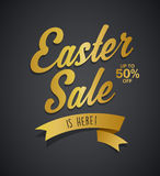Golden Easter Sale is here text with ribbon Royalty Free Stock Photo