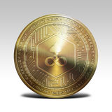 Golden edgeless coin isolated on white background 3d rendering. Illustration Royalty Free Stock Image