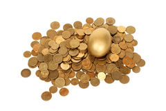 Golden egg. And coins Royalty Free Stock Photo