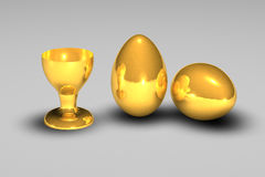 Golden egg. 3d golden egg with cup Stock Photo