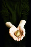 Golden egg. Hands cradling a golden egg - prosperity concept royalty free stock images