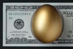 Golden Egg. A golden egg with a hundred dollar bill in the background Royalty Free Stock Photography