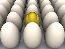 Golden egg. 3d illustration of rows of white eggs with golden one in center or middle Royalty Free Stock Images