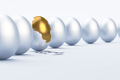 Golden Egg. Difference / uniqueness concept. 3D image royalty free illustration