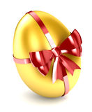 Golden Egg. Wrapped up in red ribbon with bow Stock Photography