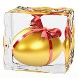 Golden Egg. Frozen in ice Royalty Free Stock Photos