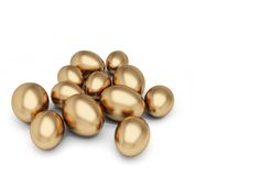 Golden egg. Several golden eggs chaotic strewn on white background Royalty Free Stock Images