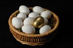 The Golden Egg. Among white eggs Stock Images