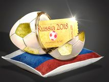 Golden egg as football with ticket. For the game stock image