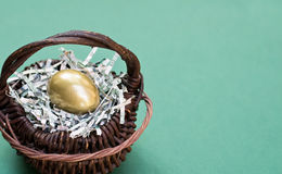 Golden Egg in Basket Royalty Free Stock Photo