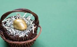 Golden Egg in Basket Royalty Free Stock Photo