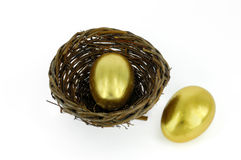 Golden egg in bird nest Royalty Free Stock Images