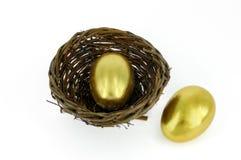 Golden egg in bird nest. Golden egg in a bird nest Royalty Free Stock Images