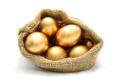 Golden egg. In canvas sack on white background Royalty Free Stock Photography