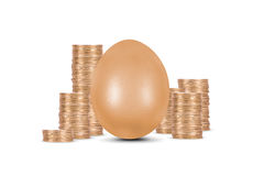 Golden Egg with Coins. Growing finance concept. Golden egg with coins, isolated on white background Stock Images