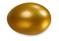 Golden egg, concept of Making Money. On white Stock Images