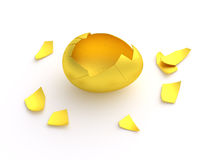 Golden egg crack opened empty shell Stock Photography