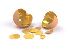 Golden egg cracked  with golden Dollar inside Royalty Free Stock Photos