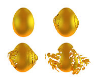 Golden egg crash stages Royalty Free Stock Photo