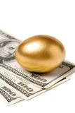 Golden egg and dollars. Concept of Making Money Stock Image