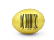 Golden egg with fake bar code Stock Photos