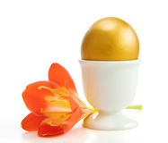 Golden egg with a flower Stock Photography