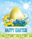 Golden egg and flowers. Royalty Free Stock Image