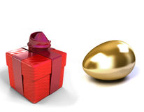 Golden Egg and gift box Stock Photos