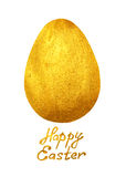 Golden egg and hand-drawn text Happy Easter on white background Royalty Free Stock Image