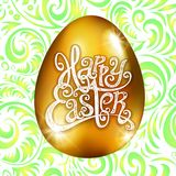 Golden egg happy Easter with decorative green background floral pattern vector illustration. Art stock illustration