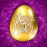 Golden egg happy Easter with decorative purple background floral pattern vector illustration. art Royalty Free Stock Photo