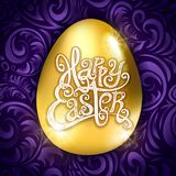 Golden egg happy Easter with decorative violet background floral pattern vector illustration. art. Golden egg happy Easter with decorative violet background Royalty Free Stock Images