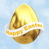 Golden Egg with Happy Easter Ribbon Sign. 3d Rendering. Golden Egg with Happy Easter Ribbon Sign on a blue background. 3d Rendering Stock Photo