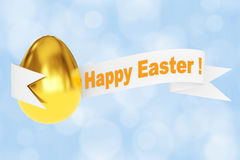 Golden Egg with Happy Easter Ribbon Sign. 3d Rendering. Golden Egg with Happy Easter Ribbon Sign on a blue background. 3d Rendering Royalty Free Stock Images
