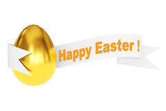 Golden Egg with Happy Easter Ribbon Sign. 3d Rendering. Golden Egg with Happy Easter Ribbon Sign on a white background. 3d Rendering Stock Images