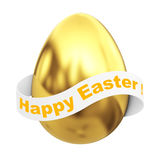 Golden Egg with Happy Easter Ribbon Sign. 3d Rendering. Golden Egg with Happy Easter Ribbon Sign on a white background. 3d Rendering Royalty Free Stock Image