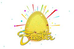 Golden egg, Happy Easter with stars, white background with colorful star Royalty Free Stock Photography