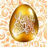 Golden Egg Happy Easter With Decorative Orange Background Floral Pattern Vector Illustration. Art Royalty Free Stock Photography