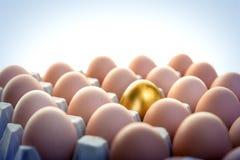Golden egg among hen eggs Royalty Free Stock Photos