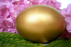 Golden egg and hydrangea flower Stock Photography