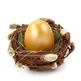 Golden Egg In Nest Stock Photography