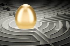 Golden egg inside labyrinth maze. Easter hunt eggs concept, 3D r. Golden egg inside labyrinth maze. Easter hunt eggs concept, 3D Stock Photo