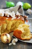 Golden egg and Italian Easter bread. Royalty Free Stock Photo