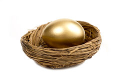 Golden Egg Laying In Nest. Beautiful golden egg laying in a nest and isolated on a white background royalty free stock image