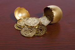Golden Egg and Money. A golden egg cracked open with gold coins coming out Royalty Free Stock Photo