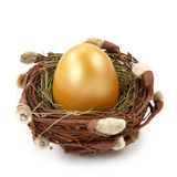 Golden egg in nest. Isolated on white background Stock Photography